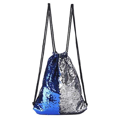 Dylandy Kordelzug Turnbeutel Sportbeutel Segeltuch Pailletten Tote Cinch Bag Storage Rucksack Reiserucksack für Mädchen Frauen, Royal Blue Silver