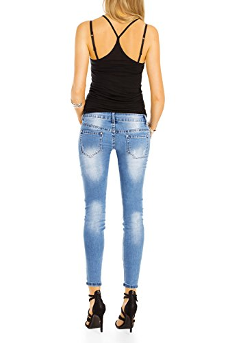 Bestyledberlin Damen Röhrenjeans knöchellang, Stretch Hüftjeans, Skinny Fit Jeans Super Destroyed Style j102kw Ripped Blue