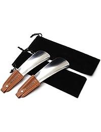 2-pack Schuhlöffen - Edelstahl Schuhlöffel mit Lederband - passend für alle Fußgrößen - Einfach zu bedienen, ideal für Reisen -Mann, Frauen, Kinder, Senioren