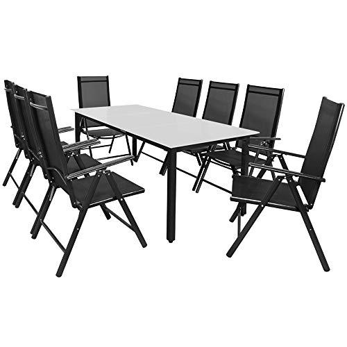 Deuba Sitzgruppe Bern 8+1   Aluminium   7-Fach verstellbare Hochlehner   Milchglas Tisch   Anthrazit - Gartenmöbel Set