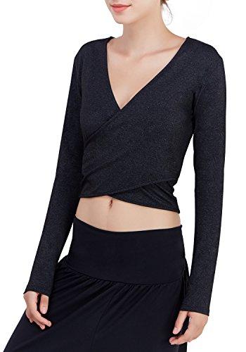 Matymats Wrap Tops for Yoga Sports Long Sleeve Deep V-neck Shirts