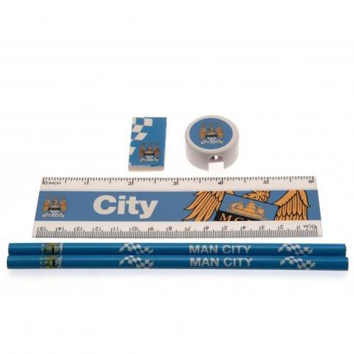 Manchester City F.C. Setcore Core stationery Schreibwaren-set, mit 2 Bleistiften, 1 x Lineal, 1 x...
