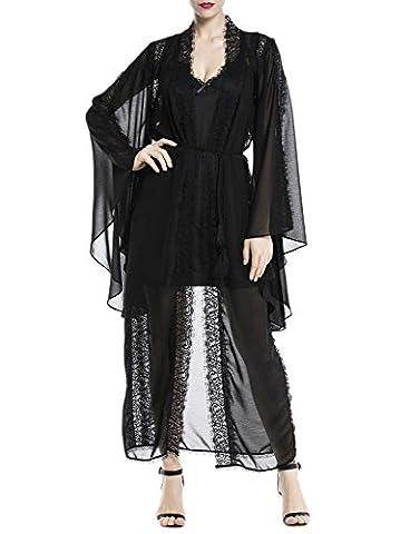 iB-iP Women's Sheer Hollow Lace Flare Sleeve Fringe Neck Long Chemise Lingerie, Size: M, Black