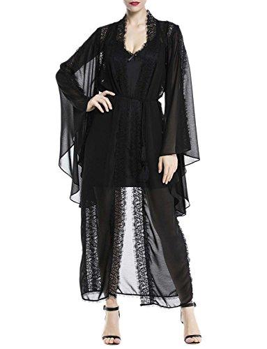 iB-iP Damen Mittelalter Hauchdünnen Hohlen Spitze Hülse Lange Chemise Dessous, größe: XL, (Pas Paris Costume Cher)