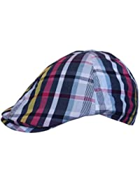 Mens Flat Cap Hat Country Check Striped Print in Navy Sky Blue Yellow