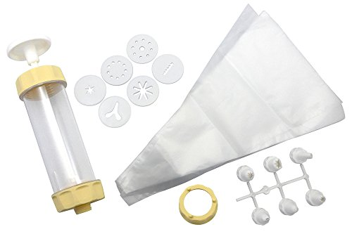 Zenker 15285 Gebäck- und Dekorierset,Spritzbeutel,Tüllen,Gebäckpresse Kunststoff creme/weiß