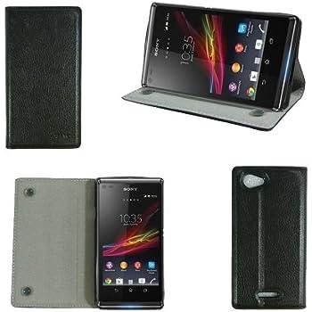 Etui luxe Sony Xperia L C2105 Ultra Slim Cuir Style noir avec stand - Housse coque de protection Sony Xperia L noire - Prix découverte accessoires pochette XEPTIO : Exceptional case !