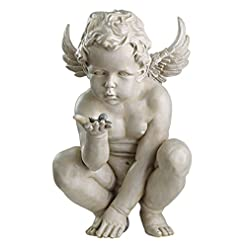 Design Toscano EU4360 Statua Cherubino i Misteri della Vita, off Bianco, 29x23x38 cm
