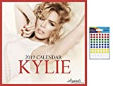 Bundle - 2 Items - Kylie Minogue 2019 Wall Calendar With Free Poster - Closed Size : 30 x 30 cm (12 x 12 Inches) and a Sheet of 70 Multi Colour Self Adhesive Dot Stickers