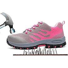 Aizeroth-UK Unisex Hombre Mujer Zapatillas de Seguridad con Punta de Acero Antideslizante Transpirable S1P