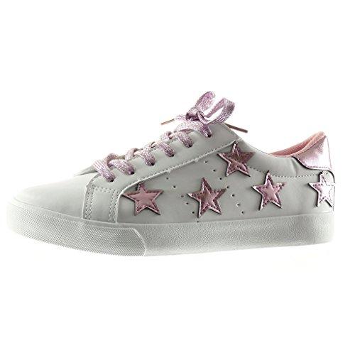 Angkorly - Damen Schuhe Sneaker - Stern - Bestickt Flache Ferse 2.5 cm - Rosa PQ-5 T 40 - Sneakers Bestickte