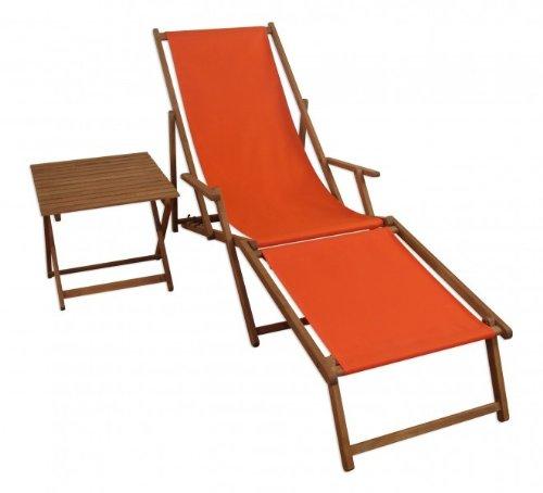 Erst-Holz Liegestuhl Terracotta Sonnenliege Strandliege Gartenliege Fußteil Tisch klappbar 10-309 F...