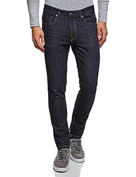 oodji Ultra Uomo Jeans Slim Fit con Impunture sulle Tasche