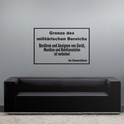 Copytec Grenze Militärischer Bereich Warnschild Armee Bundeswehr Kaserne- Wandschmuck Wandtattoo Aufkleber (ca. 45x69cm schwarz) #3776 -