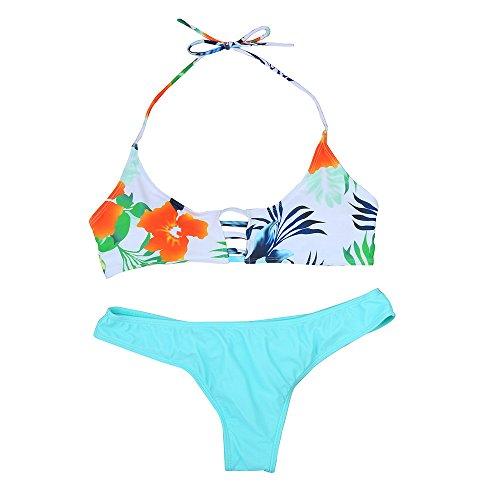 Preisvergleich Produktbild Bekleidung Bikini Loveso Sommerkleider Damen Mode Blumenmuster Gepolstert Push Up BH + Blau Unterhose Strand Stil Bikini Set Badeanzug Bademode Strandkleid ((Größe):36 (M), Mehrfarbig)