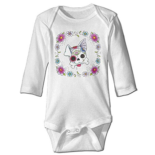 CrownLiny Sugar Skull Cute Dog Puppy Baby Onesie Infant Long Sleeve Painted Design Variety Baby Bodysuit Usa Infant Bodysuit
