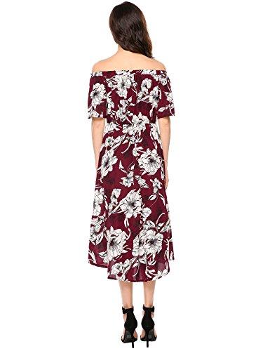 Meaneor Kleid Schulterfrei Retro Vintage Rockabilly Abendkleider - 3