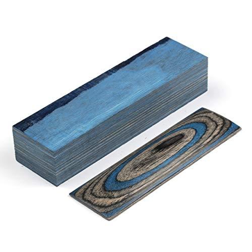 Aibote 1 Stück Farbe Holz Messer Griffe Material Griff Teile Griffe Messer Custom DIY Werkzeug für Messer Herstellung blanker Klingen (150 x 40 x 30 mm), Blue Gray - Custom Finish Holz