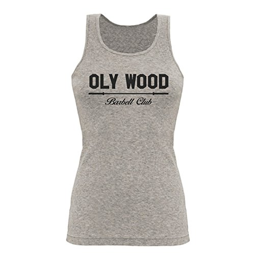 GO HEAVY Mujer Tank Top - Oly Wood Barbell Club - Gris - L