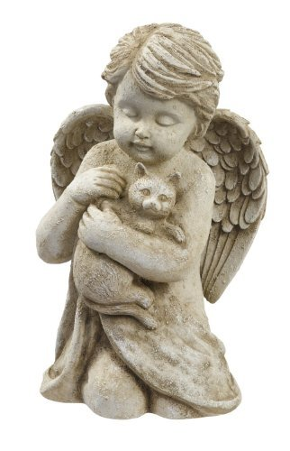 Beloved Cherub Angel Holding a Cat Pet Memorial Bereavement Garden Statue Figurine by GL -