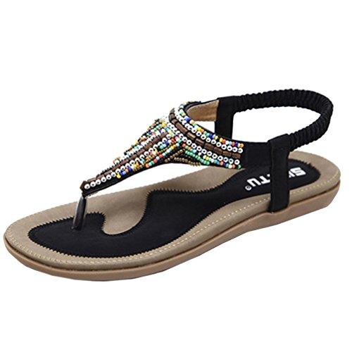 Oferta de liquidación! Women's Flat Sandalia Covermason Bohemia Leisure Bling Toe Post Sandalia plana Zapatos al aire libre(41 EU, Negro)
