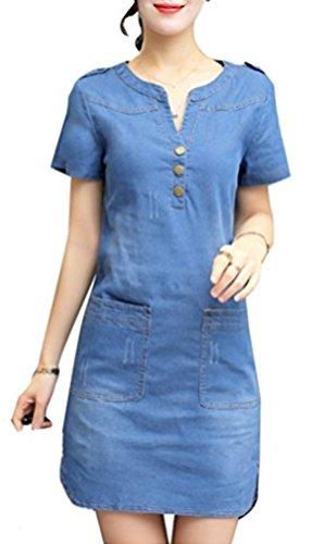 Blansdi Damen Elegant Jeanskleid VAusschnitt Kurzarm Partykleid Bodycon  Denim Cocktailkleid Blusenkleid Minikleid Hell Blau
