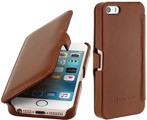 StilGut Book Type sans clip, housse en cuir pour Apple iPhone 5, 5s & iPhone SE, en cognac Cognac - avec clip