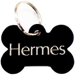 Médaille gravée pour chien OS noir pour moyen/grand chien, GRAVURE OFFERTE, Livraison ultra rapide. (4cm x 2.5cm)