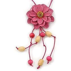 Rosa diseño de margaritas de piel lámpara de techo colgante con cordón de algodón largo - 80 cm L - ajustable