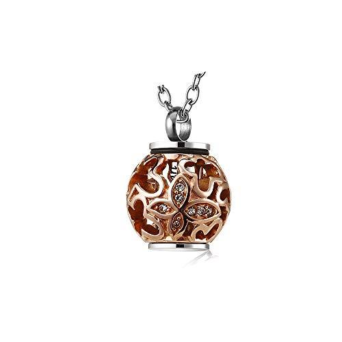 Cremation Jewelry - Colgante de urna conmemorativa para cenizas (acero inoxidable), diseño de hornillo de oro rosa