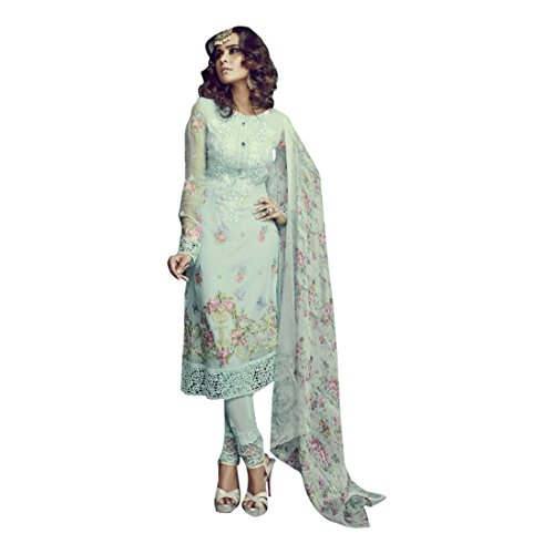 Himmelblau SkyBlue New Indian Pakistani Straight Salwar Kamiz Kameez Suit Kurti Bollywood Girl Top Straight Pant Wedding Suit Georgette Damen Dirndl Hochzeit Frauen Party Women 2520 - Kameez Kurti