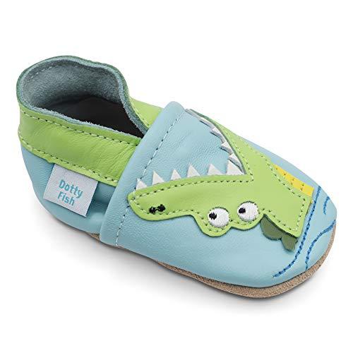 Dotty Fish Weiche Baby und Kleinkind Lederschuhe. Jungen. Blauer Schuh mit grünem Krokodil. 18-24 Monate (23 EU) -