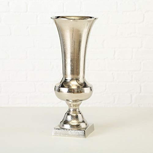DAFLOXX Edle Vase Flavio 44cm Aluminium Amphore Silber Tischvase Alu Dekovase