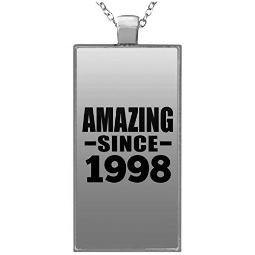 g Since 1998 - Rectangle Necklace Halskette Rechteck Versilberter Anhänger - Geschenk zum Geburtstag Jahrestag Muttertag Vatertag Ostern ()