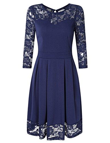 (KOJOOIN Damen Elegant Kleider Spitzenkleid Langarm Cocktailkleid Knielang Rockabilly Kleid Blau Dunkelblau S)
