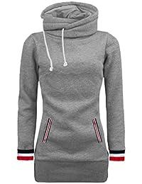 Amlaiworld Winter Herbst bunt Rollkragen Mäntel damen komfortabel locker sport Sweatshirt warm weich Lang Tasche pullover