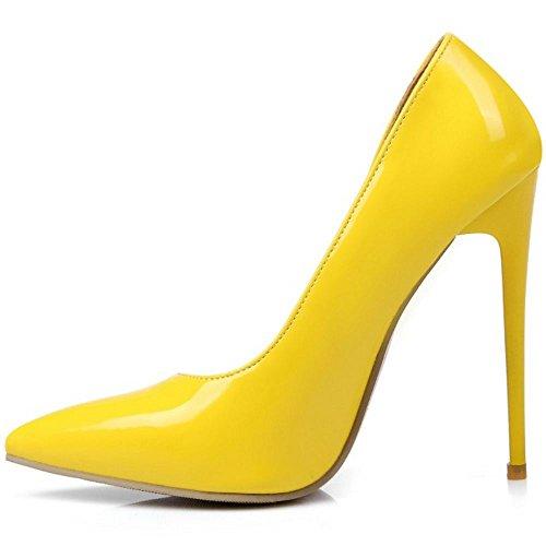 COOLCEPT Femmes Chaussures Pointu Talons Hauts Escarpins fete Soiree Jaune