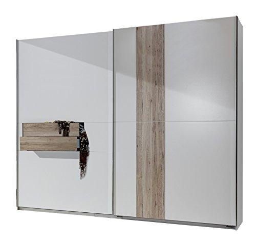 fresh to go 636617 Schwebetürenschrank, 250 x 218 x 65 cm mit zwei Schubkästen, Front und Korpus Alpinweiß / Absetzungen San Remo Eiche Nachbildung