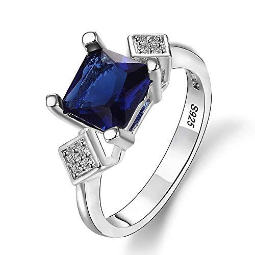 OLGN Ringe Für Verlobungsringe Quadrat Silber 925 Schmuck Ring Damenring Mit Dunkelblauem Saphir Edelstein Zirkon Edlen Schmuck Ringgröße: 7