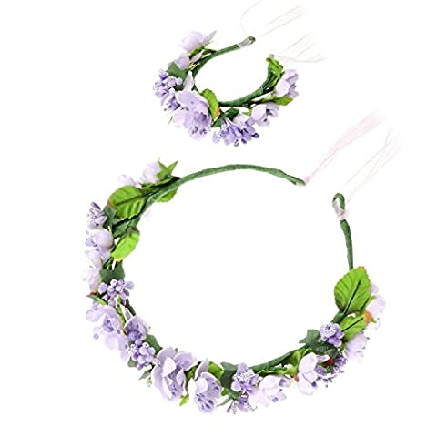 Bridal Flower Wreath Headband Crown Garland Halo Headdress with Floral Wrist Band for Wedding Festivals Seaside Resort Beach Accessories