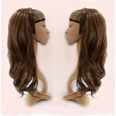 HJL-doppia treccia cerchio dei capelli mezzo un set di estensioni ad alta temperatura parrucche dei capelli della clip filo , light auburn
