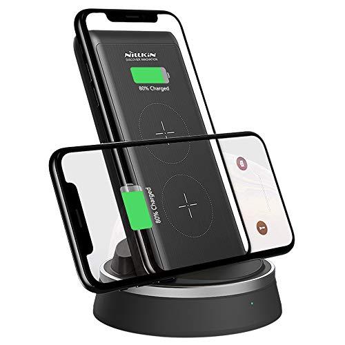 Nillkin Powerbank Qi Wireless Charger, 10000mAh Externer Akku mit 18W Power Delivery, 2 in 1 Tragbares Kabellose Qi Power Bank mit 3 Ausgänge, Schnelles Laden für iPhone, iPad, Samsung, Huawei usw