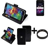 K-S-Trade® Top Set: 360° Funda Smartphone para LG Electronics K8+ (2018), Negro + Anillo Protector | Función De Stand Caso Monedero BookStyle Mejor Precio, Mejor Funcionamiento