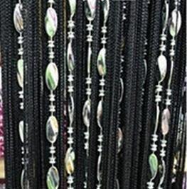 Eve Split 100x 200cm Dekorative Fadenvorhang Perlen Wand Panel Fransen Fenster Raumteiler Rollo für Hochzeit Kaffee Haus Restaurant Teile Tür Trennwand Perlen Quaste Bildschirm Dekoration schwarz - Dekorative Bildschirme Als Raumteiler