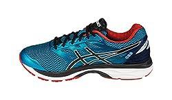 Asics Mens Island Blue, Black and Vermilion Running Shoes - 8 UK/India (42.5 EU)(9 US)