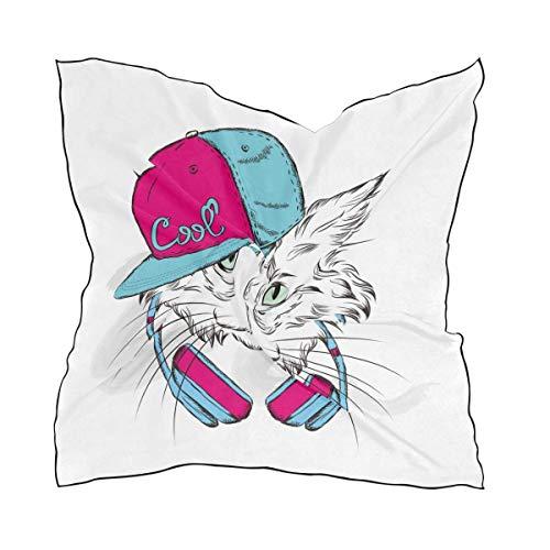 Voxpkrs Katze mit Hut große quadratische Schals Kopf wickeln Frauen Schal wickeln Seide Material