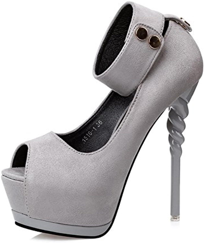 Zapatos de cabeza de pescado de primavera y verano de las mujeres de ultramarinos Nightclub Sexy Thin High Heels...