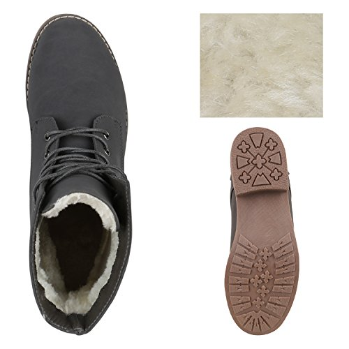 Gefütterte Damen Stiefeletten Stiefel Worker Boots Schuhe Grau