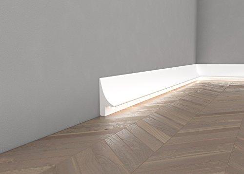 """Preisvergleich Produktbild *TOPSELLER* Licht Fußleiste """"QL007"""" - Sockelleiste für indirekte Beleuchtung (aus hochfestem Polyurethan)"""