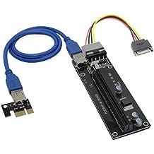 Tarjeta Elevadora PCI-E 1x a 16x, cable extensor USB 3.0con SATA a 4pines IDE Molex de alimentación ininterrumpida para minería Bitcoin Litecoin